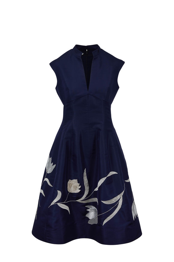 Oscar de la Renta Navy & Silver Silk Embroidered A-Line Dress