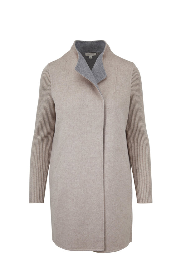 Kinross Fawn & Sterling Wool & Cashmere Rib Sleeve Coat