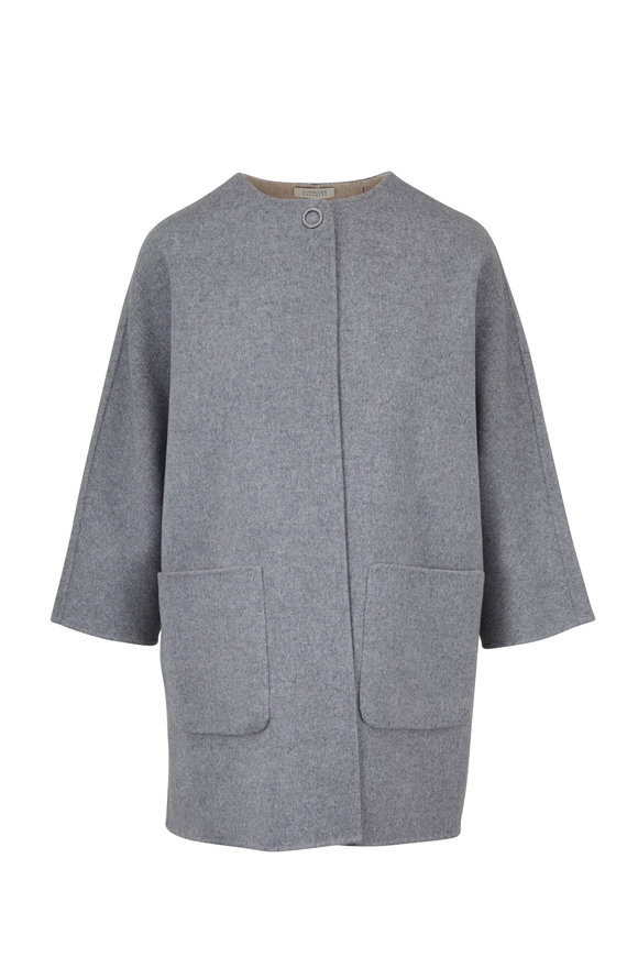 Kinross Sterling & Fawn Wool & Cashmere Reversible Coat