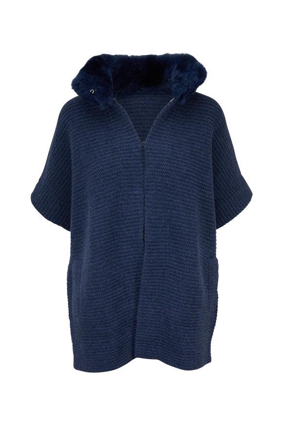 Kinross Twilight Cashmere Fur Collar Cardigan