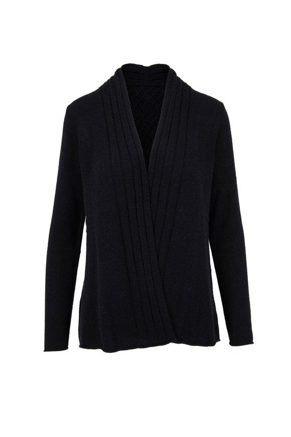 Kinross Black Cashmere Open Front Cardigan