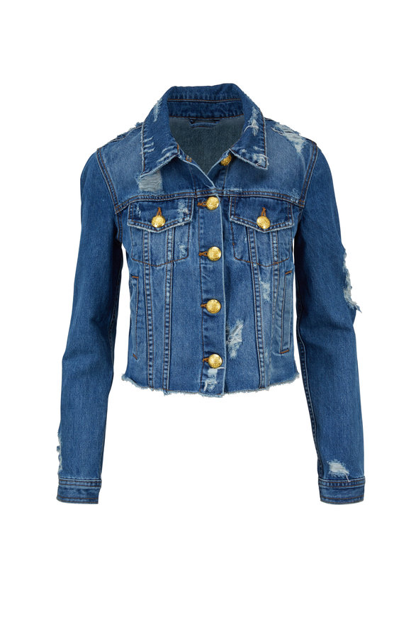 Veronica Beard Cara Medium Wash Distressed Jean Jacket
