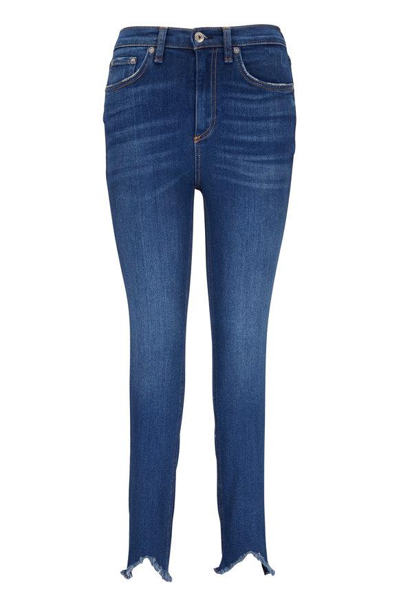 Rag & Bone Medium Wash High-Rise Ankle Fray Hem Skinny Jean
