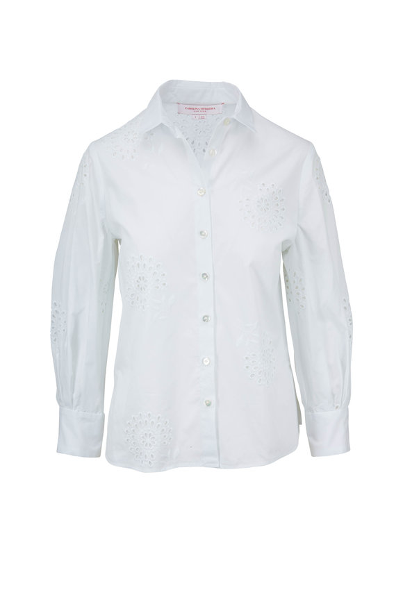 Carolina Herrera White Cotton Eyelet Shirt