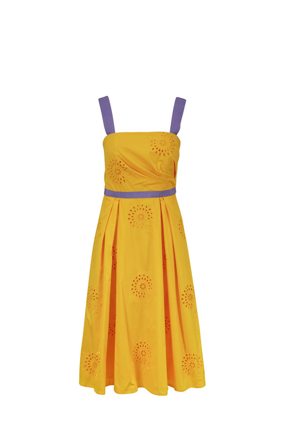 Carolina Herrera Gold & Purple Cotton Eyelet A-Line Dress