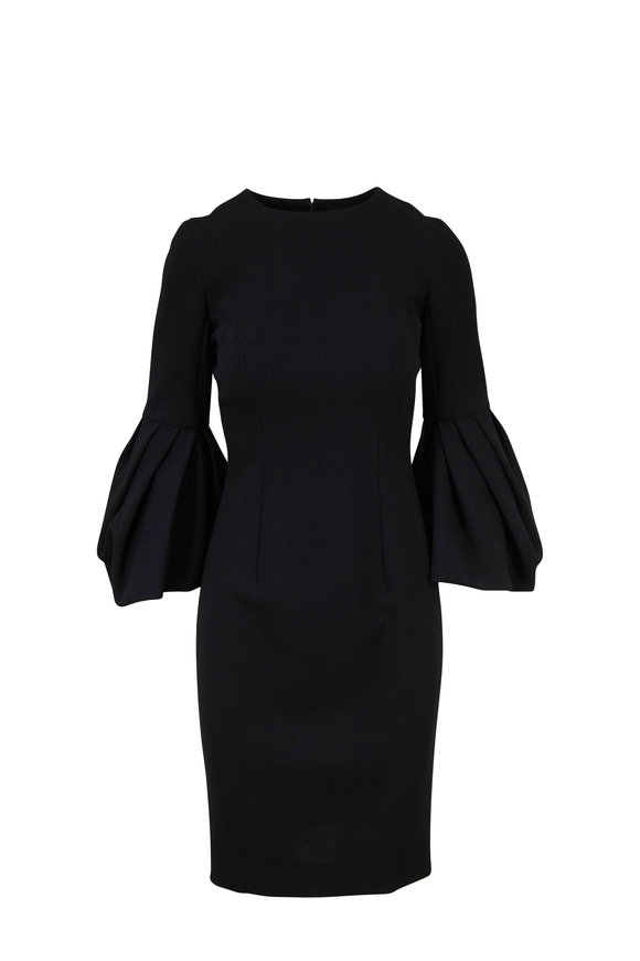 Carolina Herrera Black Crêpe Couture Pleated Sleeve Dress