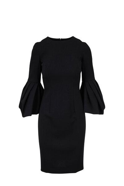 Carolina Herrera - Black Crêpe Couture Pleated Sleeve Dress