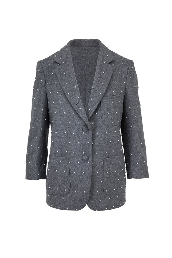 Thom Browne Gray Flannel Pearl Faceted Sack Jacket