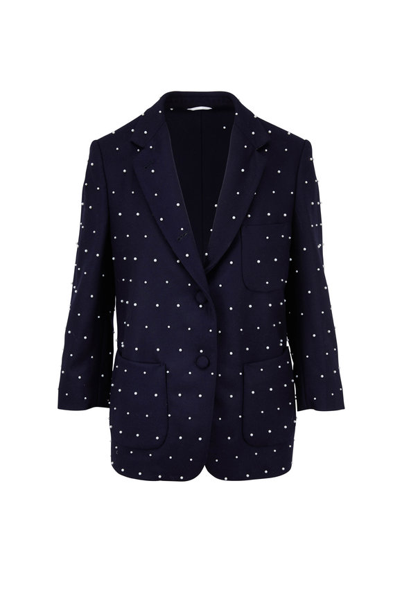 Thom Browne Navy Flannel Pearl Faceted Sack Jacket