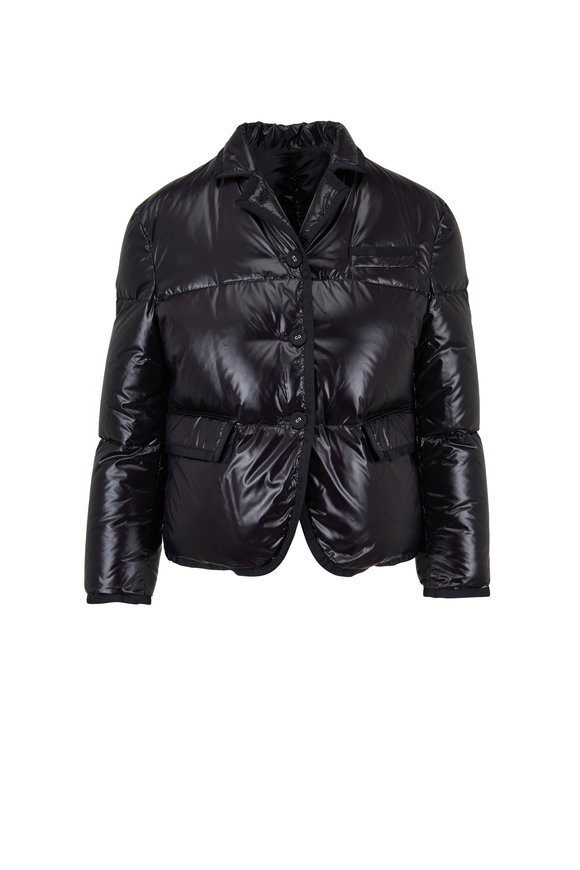 Thom Browne Black Tech Satin Grosgrain Tipped Puffer Jacket