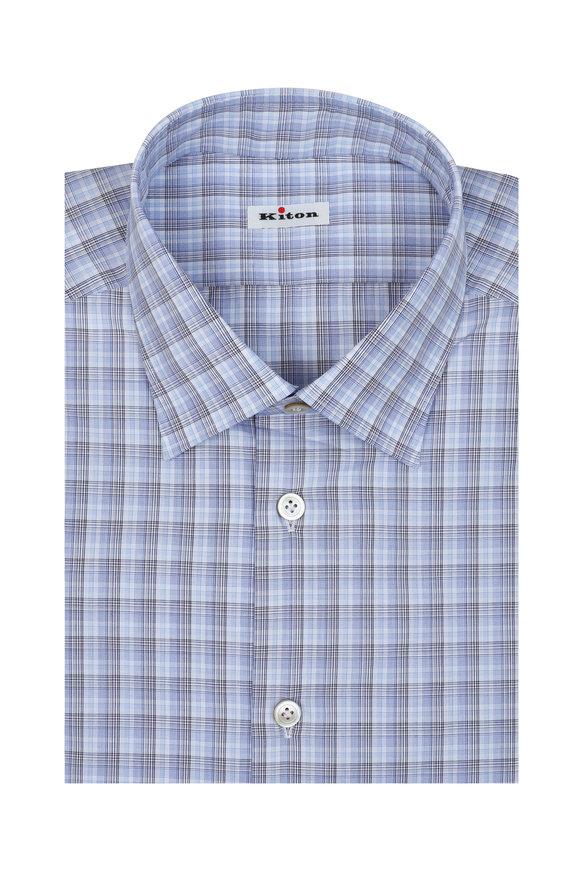 Kiton White, Blue & Black Plaid Dress Shirt