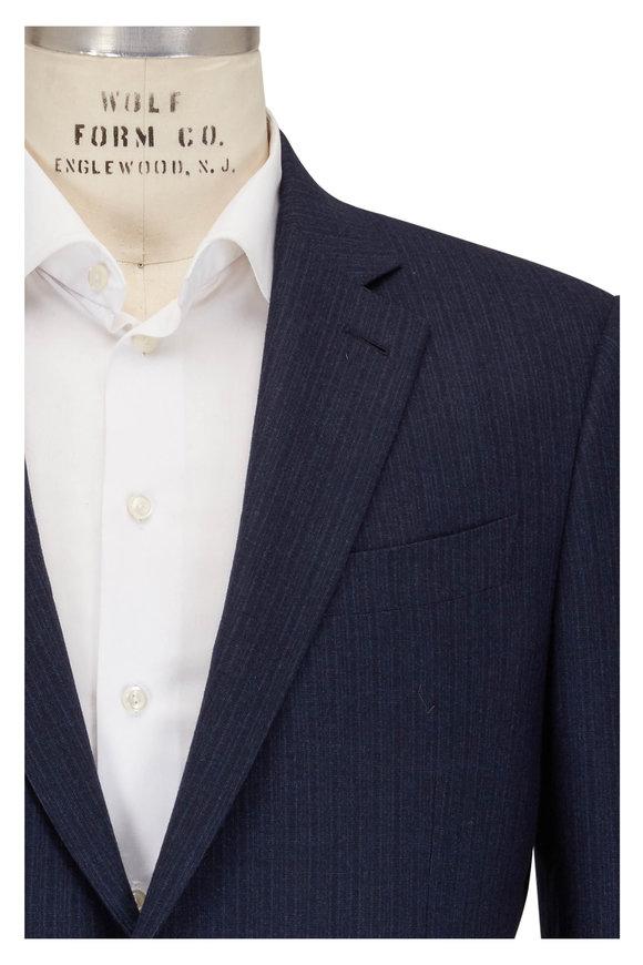 Ermenegildo Zegna Trofeo Navy Blue Wool Striped Suit