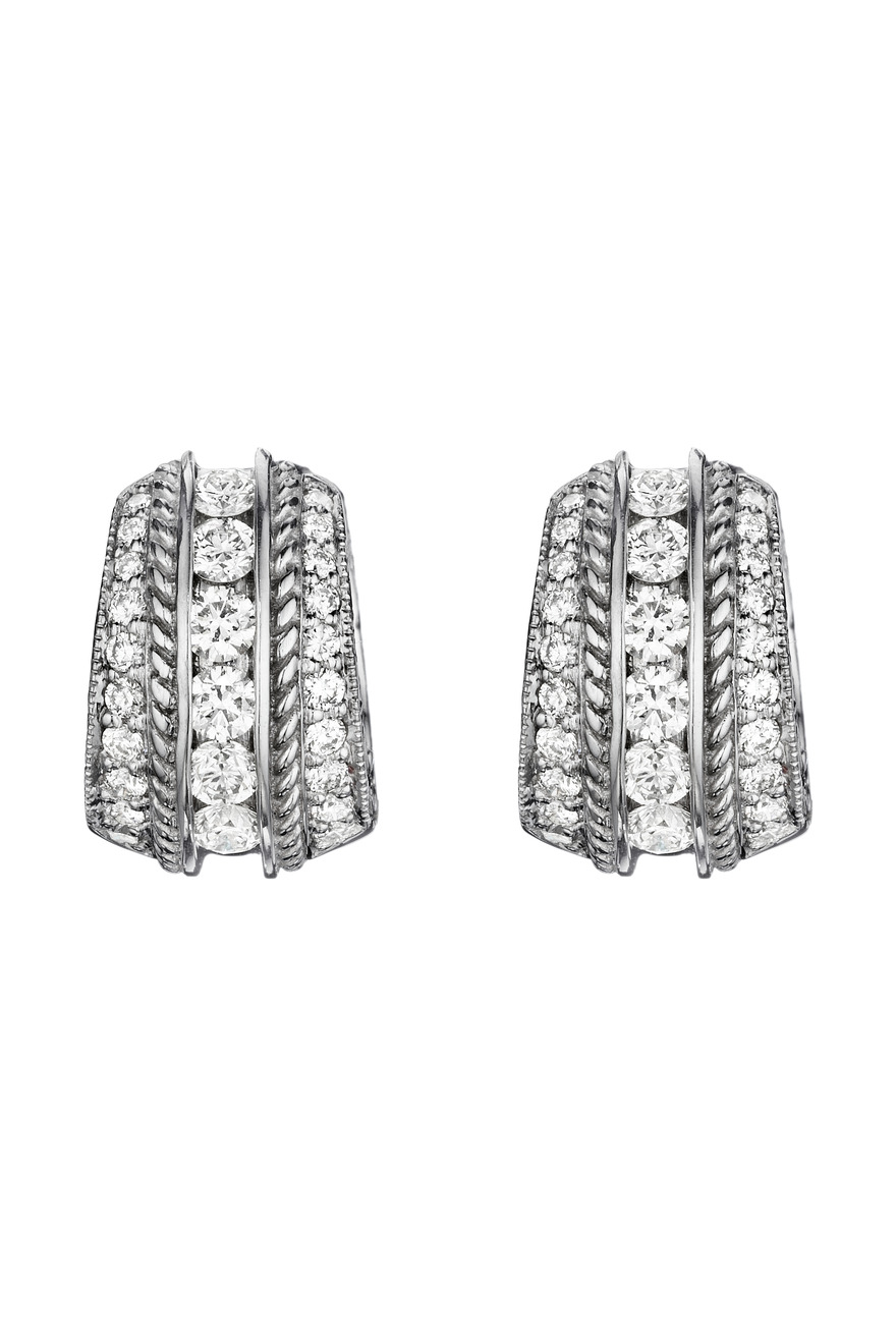 White Gold Engraved Pave & Channel Set Earrings