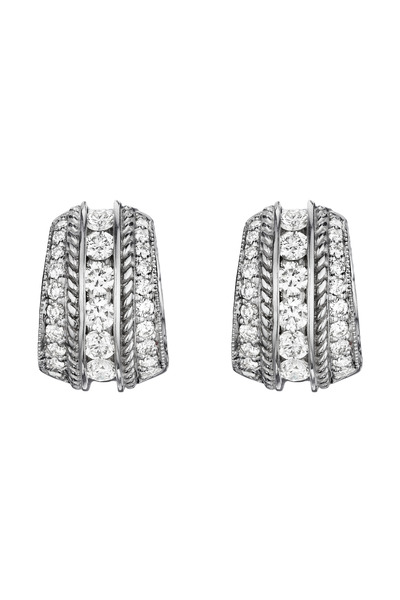 Penny Preville - White Gold Engraved Pave & Channel Set Earrings