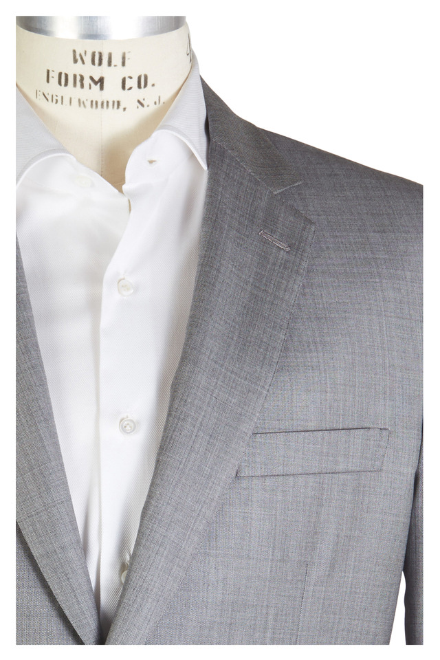 Light Gray Sharkskin Wool Suit