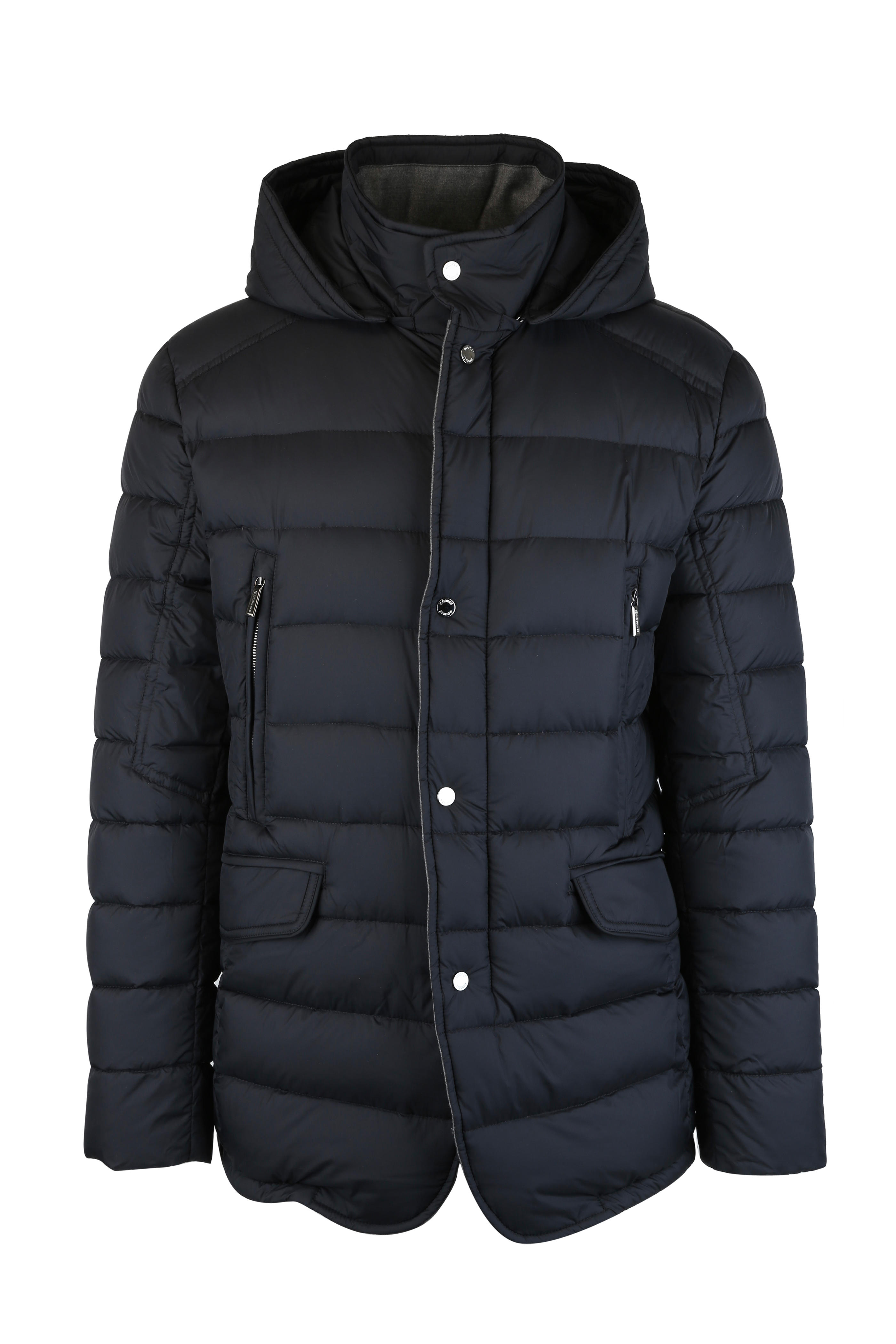 Moorer - Dark Blue Quilted Goose Down Hooded Jacket  e446c9d9f06