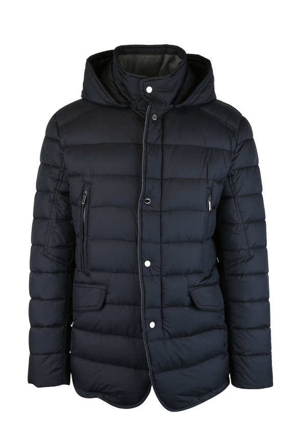 Moorer Dark Blue Quilted Goose Down Hooded Jacket