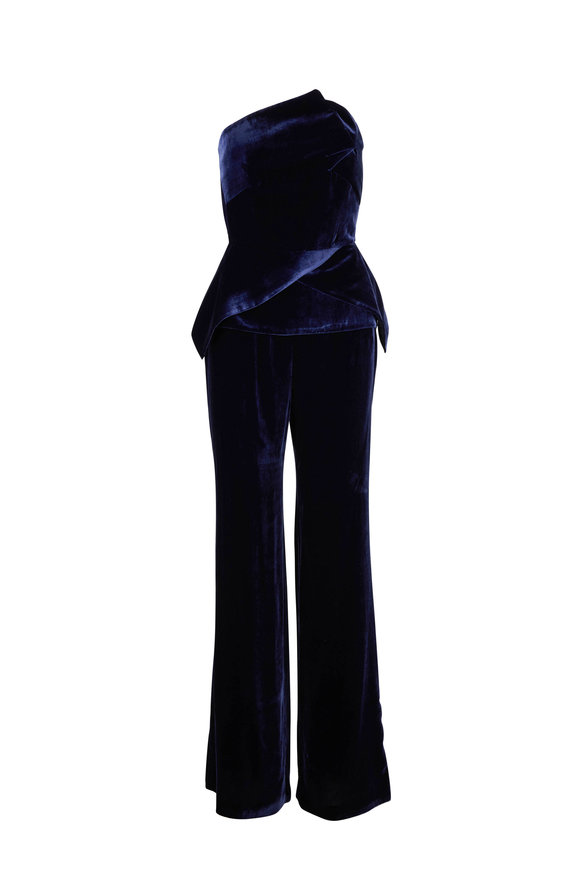 Roland Mouret Carradine Navy Velvet Peplum Strapless Jumpsuit