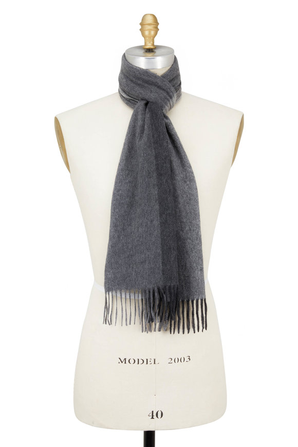 Kinross Charcoal Multi Colorblock Cashmere Scarf
