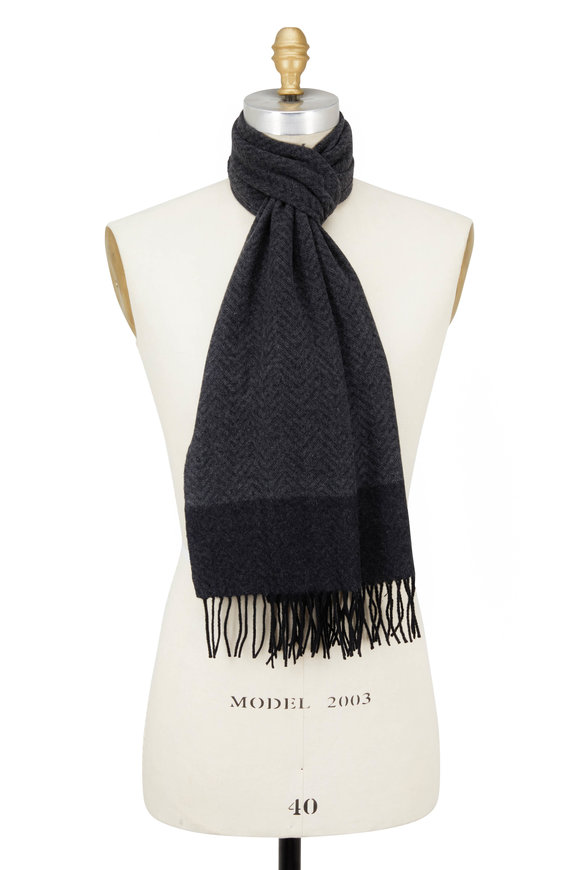 Kinross Charcoal Multi Cashmere Chevron Scarf