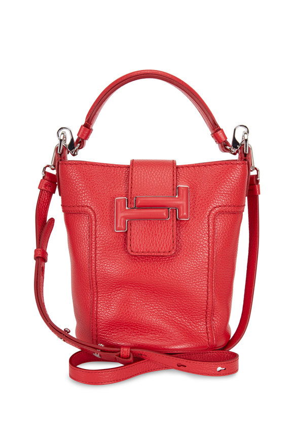 Tod's Double T Red Leather Small Bucket Crossbody Bag