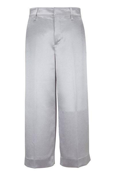 Vince - Silver Satin Wide Leg Crop Pant