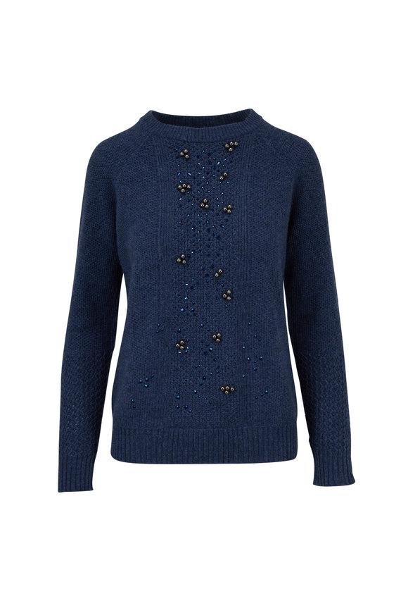 Kinross Twilight Cashmere Beaded Crewneck Sweater