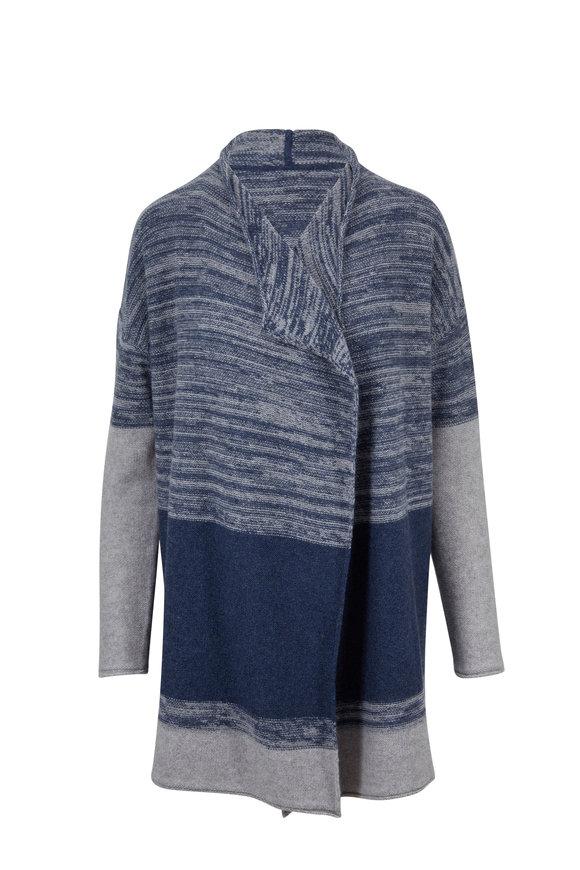 Kinross Twilight & Pumice Cashmere Colorblock Cardigan