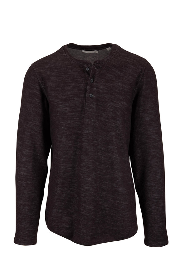 Vince Black & Heather Carbon Double Knit Henley