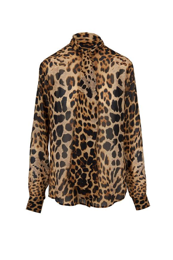 Saint Laurent Leopard Printed Silk Tie-Neck Blouse
