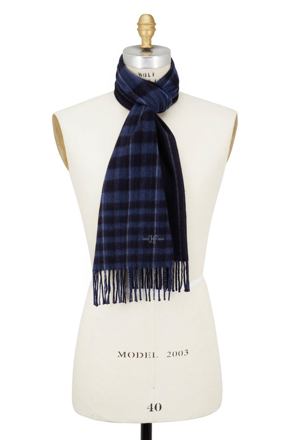 Hickey Freeman Navy Striped Cashmere Scarf