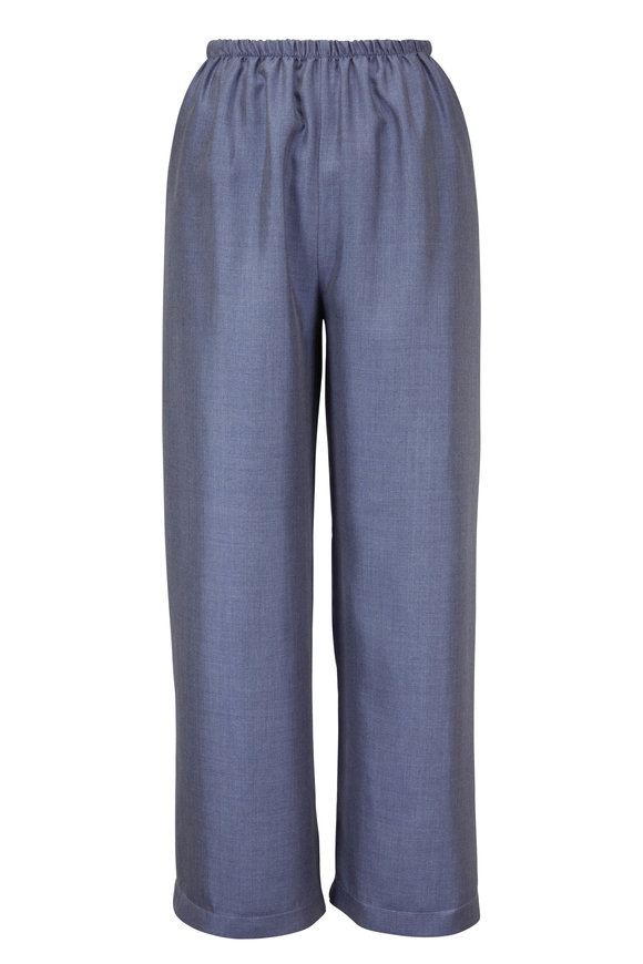 Peter Cohen Chambray Blue Silk Pull-On Crop Pant