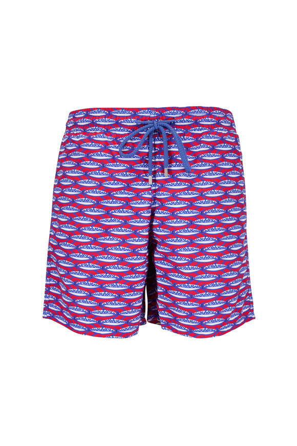 Vilebrequin Moorea Gooseberry Red Marbella Print Swim Trunks
