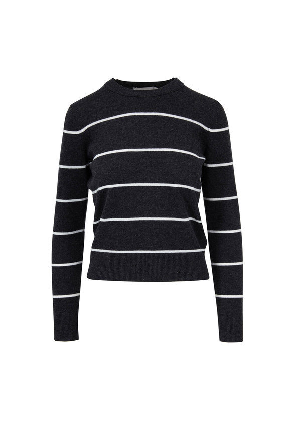Vince Heather Charcoal & Off-White Cashmere Sweater