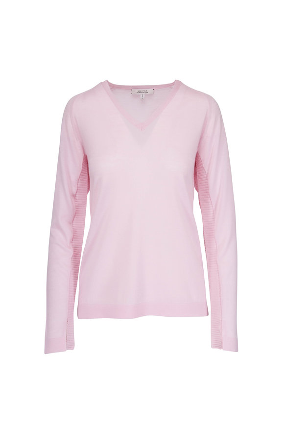 Dorothee Schumacher Timeless Twist Rose Wool V-Neck Sweater