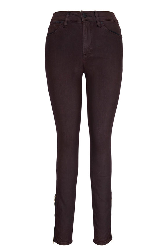 Hudson Clothing Barbara Deep Red High-Rise Skinny Ankle Zip Jean