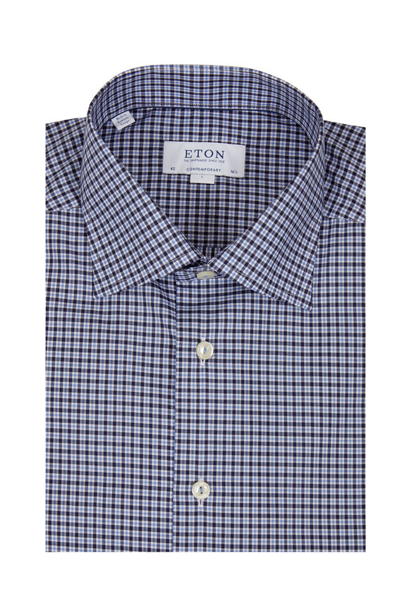 Eton Blue Plaid Contemporary Fit Sport Shirt