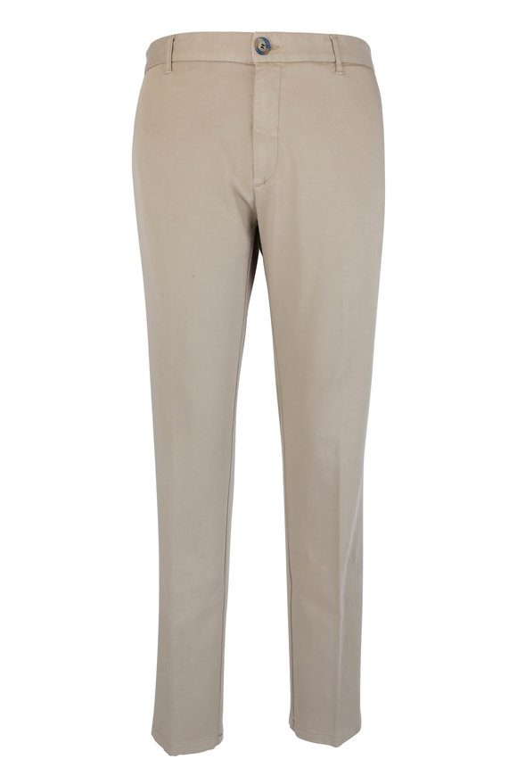 J.W. Brine Taupe Stretch Cotton Flat Front Pant