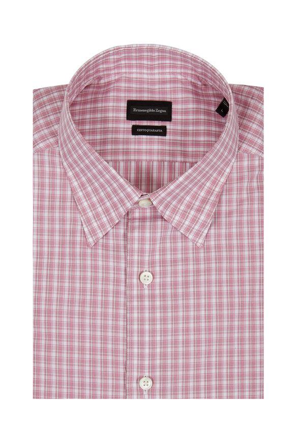 Ermenegildo Zegna Centroquaranta Red Check Sport Shirt