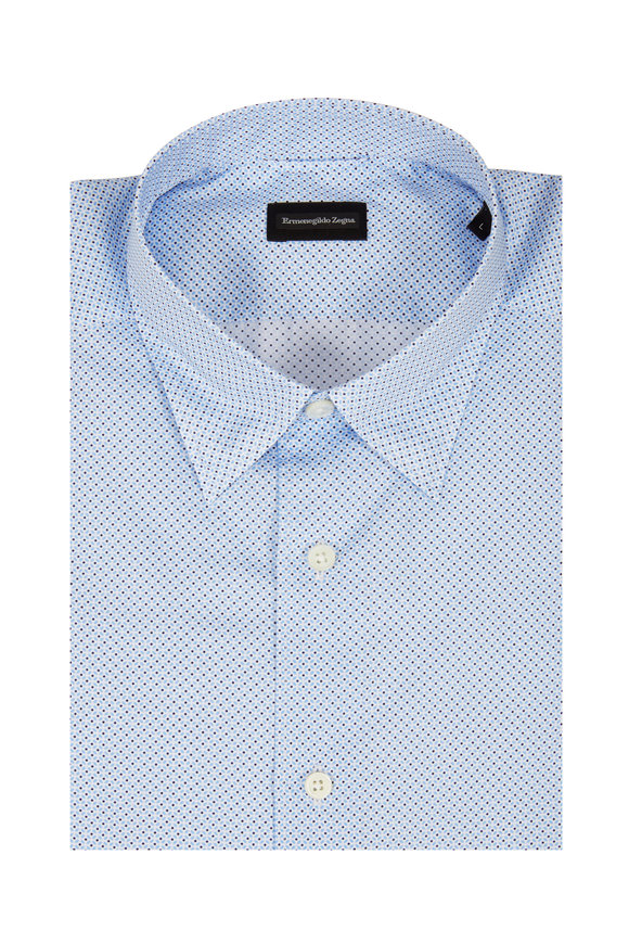 Ermenegildo Zegna Light Blue Geometric Tailored Fit Sport Shirt