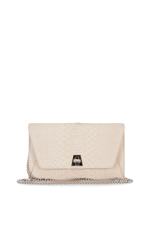 Akris Anouk Pale Rose Python Small Chain Clutch
