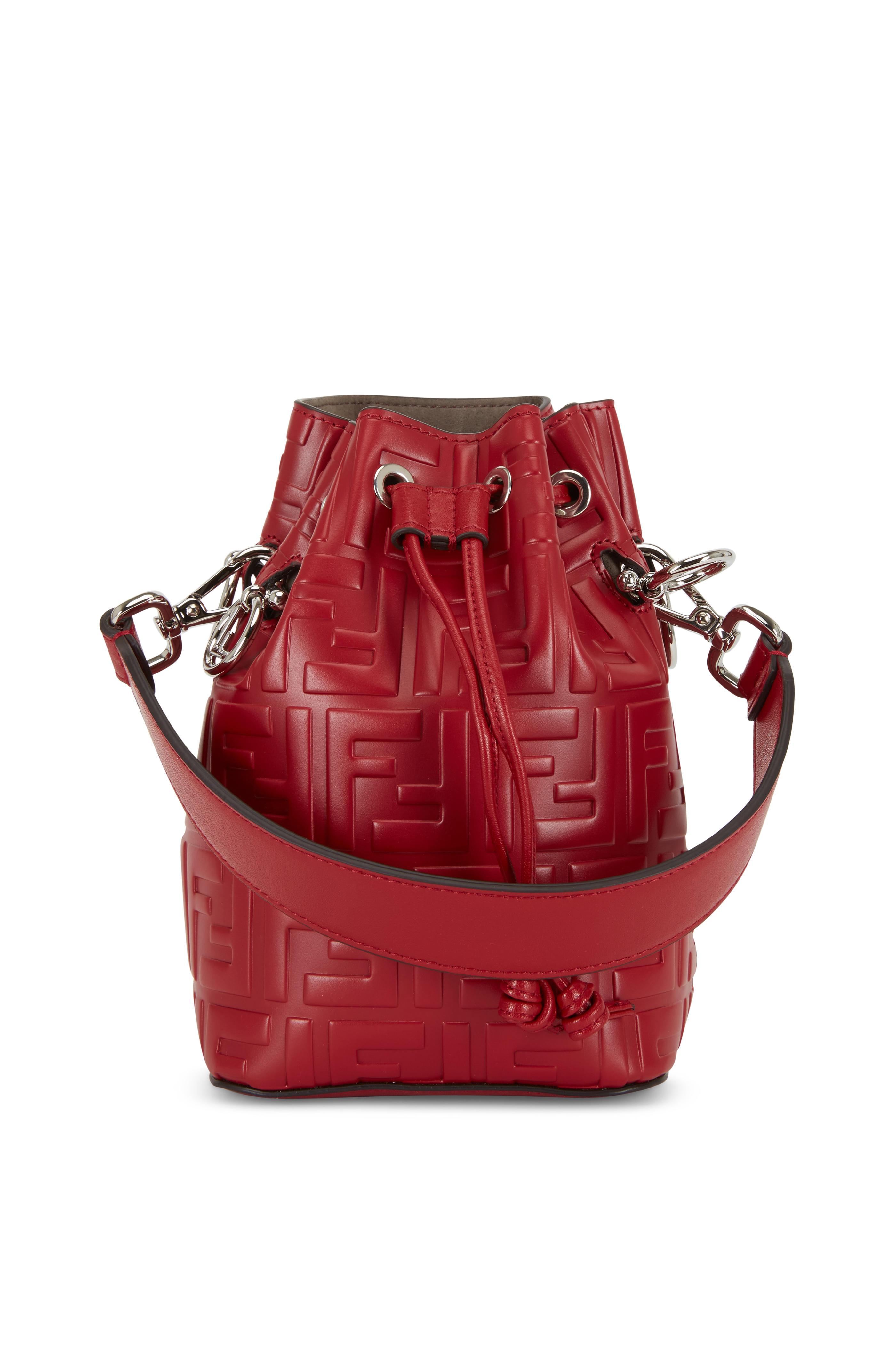 12321aaf6abd Fendi - Mon Tresor Red Logo Embossed Mini Bucket Bag