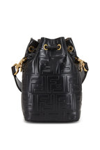 Fendi - Mon Tresor Black Logo Embossed Mini Bucket Bag