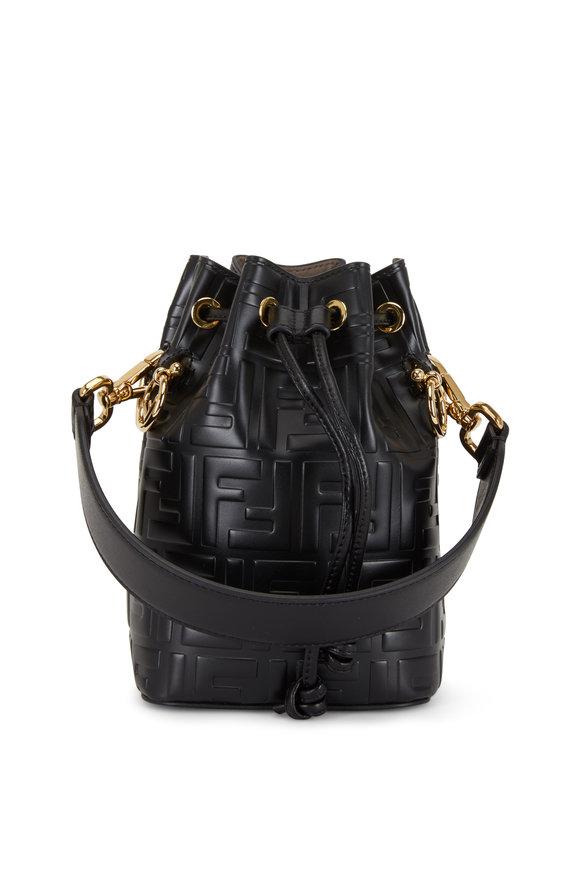 Fendi Mon Tresor Black Logo Embossed Mini Bucket Bag