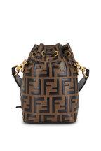 Fendi - Mon Tresor Brown Logo Embossed Mini Bucket Bag