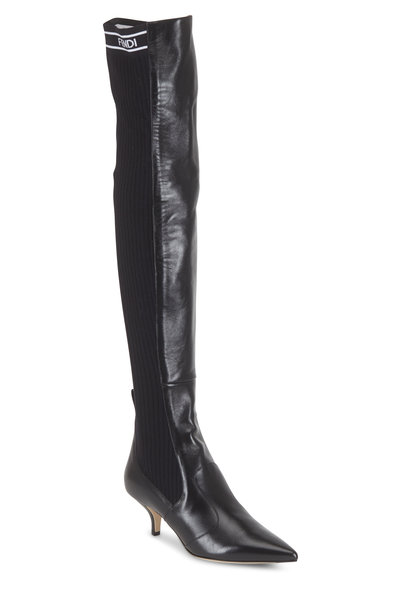 Fendi - Rockoko Leather & Knit OTK Boot, 45mm