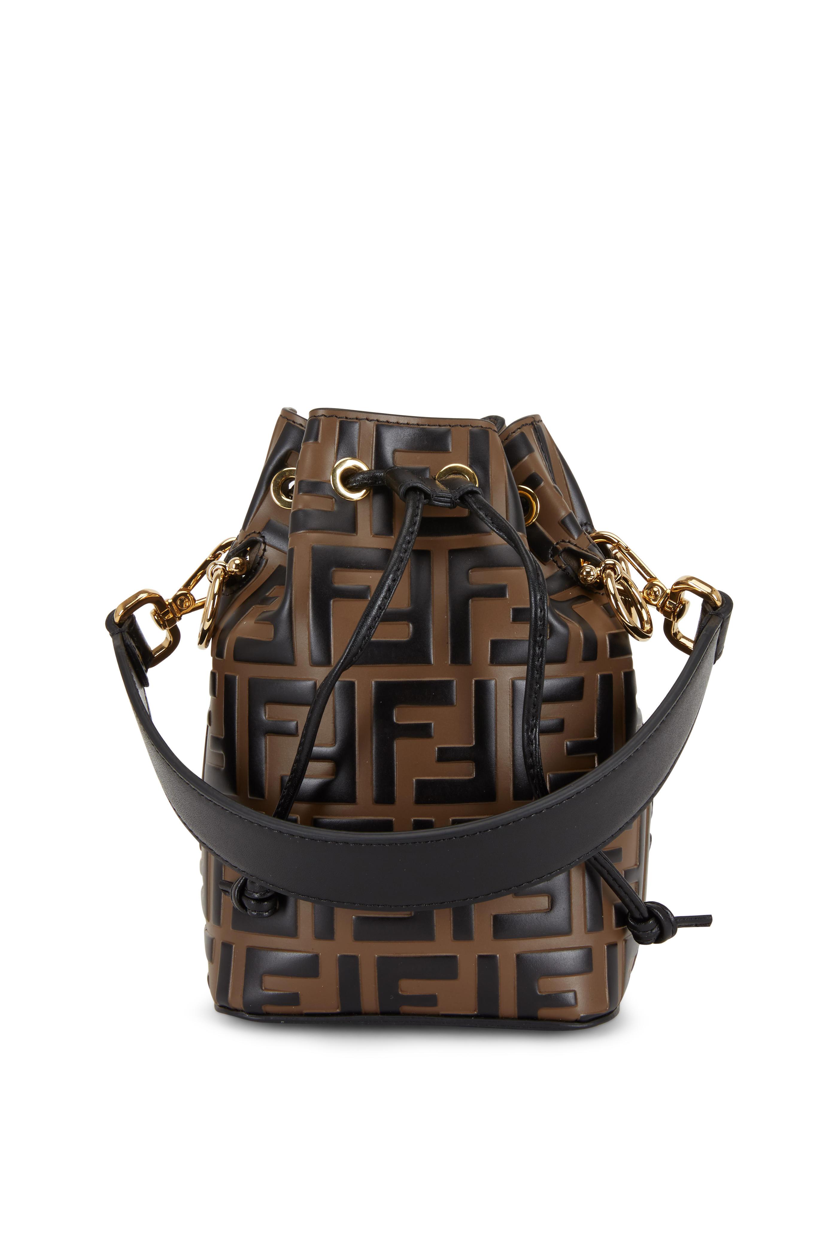 296326fb827 Fendi - Mon Tresor Brown Logo Embossed Mini Bucket Bag   Mitchell Stores