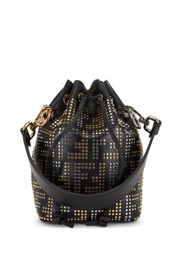 Fendi Mon Tresor Black Logo Studded Mini Bucket Bag