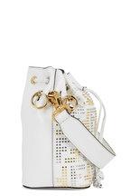 Fendi - Mon Tresor White Logo Studded Mini Bucket Bag