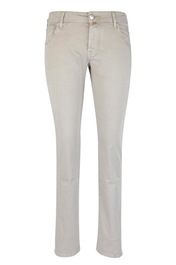 Jacob Cohen  Tan Gabardine Five-Pocket Jean